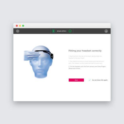 EmotivPro performance interface screenshot metrics research recording exporting emotiv bci headset fitting