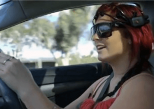 woman driving car emotiv EPOC plus headset brain controlled technology