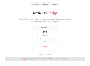 Student emotivpro emotiv license neuroscience