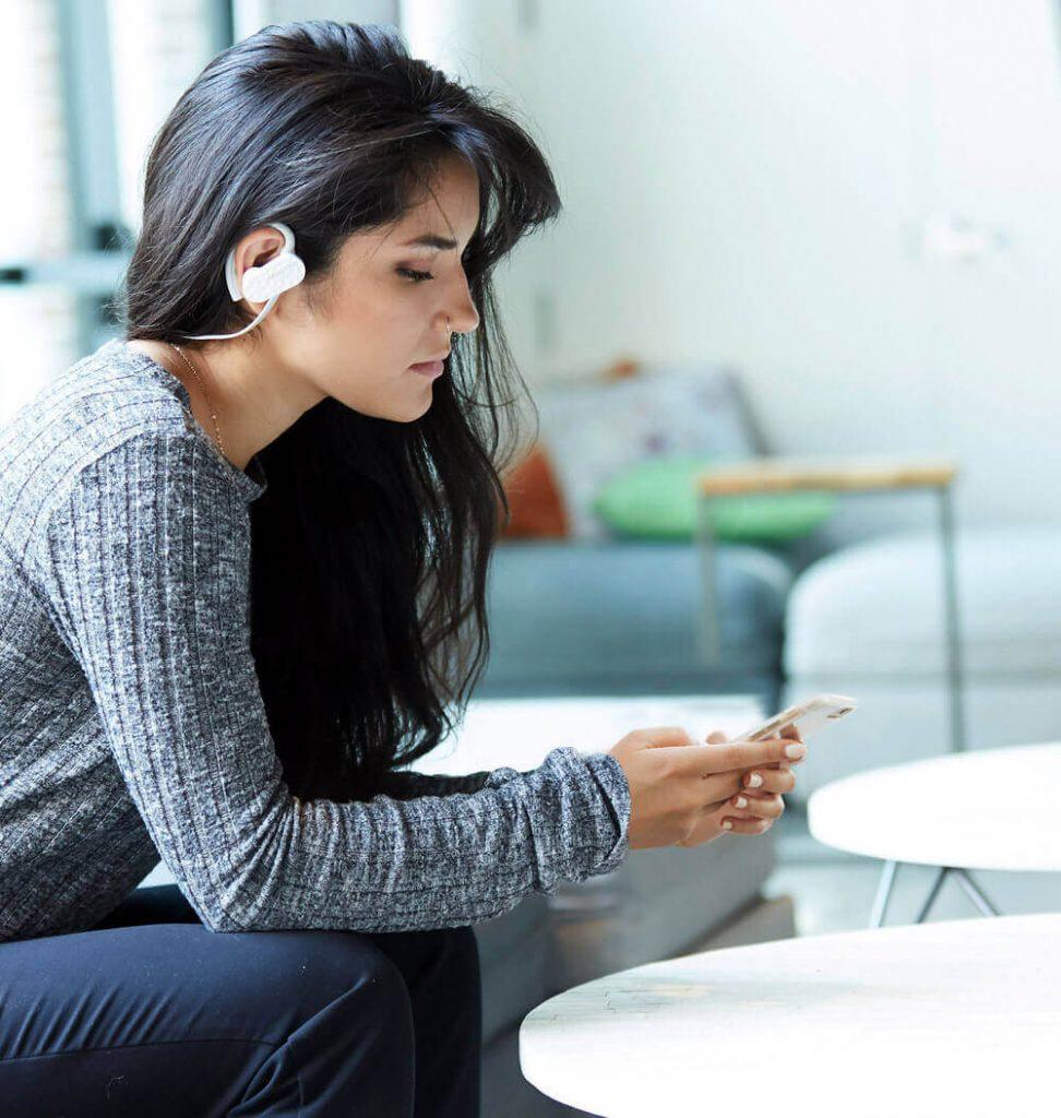 woman emotiv mn8 audio workplace wellness safety enterprise solution